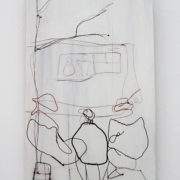 Waiting, 56cm x 34cm, wire on board, 2009