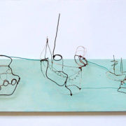Istanbul ships, 23cm x 77cm,        wire and paint on board, 2009