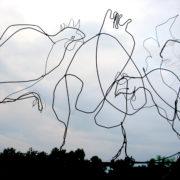 Chickens, 60cm x 100cm, wire, 2008
