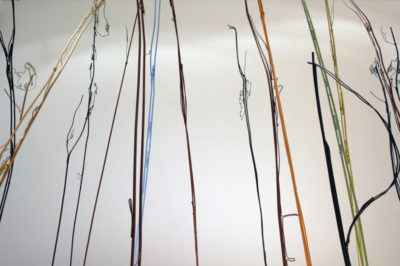 Aramture, wire, spray paint and wooden plinth, 200 x 150 x 230 cm