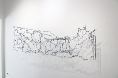 Gaze to the Garden and the Sea, wire, 67 x 200 x 0,3 cm